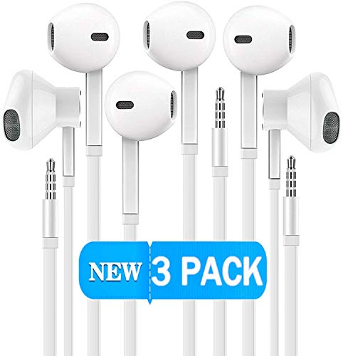 Certified Gadgets Headphones [3 PACK] Sport Earphones with Mic Earbuds Stereo & Noise Cancelling Isolating Headset for Apple iPhone iPod iPad Samsung Galaxy LG HTC Other 3.5MM Devices (White) ()