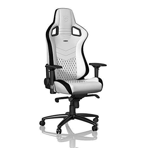 - noblechairs Epic Gaming Chair - Office Chair - Desk Chair - PU Faux Leather - 265 lbs - 135° Reclinable - Lumbar Support Cushion - Racing Seat Design - White/Black