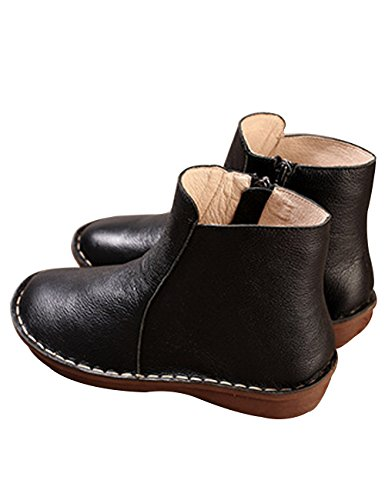 Leather Ankle Chelsea Side Boots Black Zipper On Women's Slip Zoulee Bootie Pq6OwWpgn