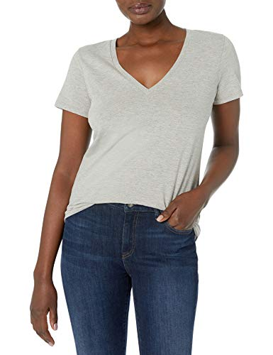 J.Crew Women's Vintage Cotton V-Neck T-Shirt, Heather Soft Grey, L