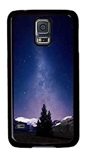 Rugged Samsung Galaxy S5 Case and Cover - Awesome Milky Way And Mountains Tree Custom Design PC Case Cover for Samsung Galaxy S5 - Black