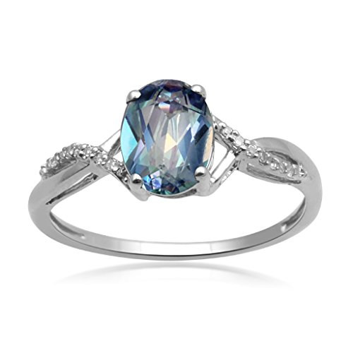 Jewelili 10kt White Gold 8x6mm Oval Sheer Luck Topaz and Accented Round White Diamond Crisscross Ring, Size 7 (Ring Diamond Blue Accented)