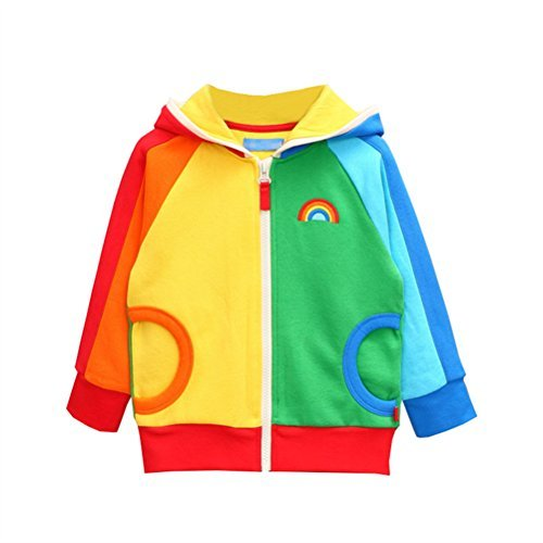 UWESPRING Little Girls Hoodies Rainbow Zipper Long Sleeve 2T Multicoloured