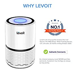 Levoit Air Purifier for Home, Quiet H13 HEPA Filter Removes 99.97% of Pollen, Allergy Particles, Dust, Smoke, Portable Air Cleaner for Bedroom with 3 Speeds, Night Light, Filter Change Reminder