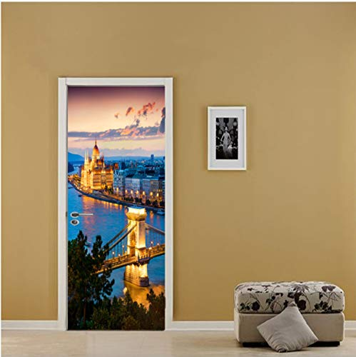 (QiZhan541 Classic Castle Bridge Light Night Scene Nightscape Door Sticker Fashion Bathroom Toilet Door Decals DIY Waterproof Wall Art 77×200cm)