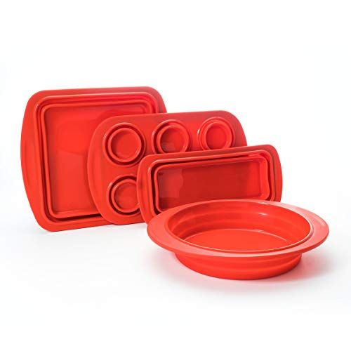 Cook's Companion 4-Piece Collapsible Silicone Bakeware Set