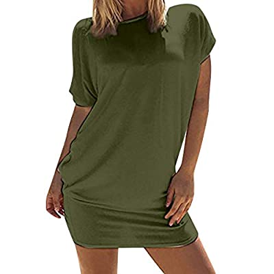TWGONE Tunics For Women To Wear With Leggings Short Sleeve Above Knee Beach Party Mini Dress