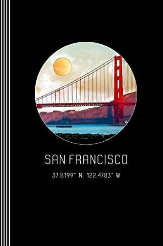 San Francisco: Artsy Golden Gate Bridge Journal Book - Blank Graph Paper 5x5 Grid Composition Notebook - Beautiful Watercolor California Architecture Art Illustration Diary ()
