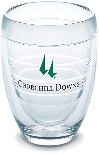 Tervis 1321164 Kentucky Derby 2019 Churchill Downs Insulated Travel Tumbler with Wrap, 9oz Stemless Wine Glass - Tritan, Clear