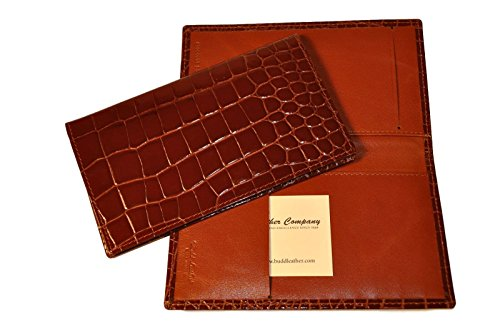 Budd Leather Croco Bidente Checkbook Cover, Cognac by Budd Leather