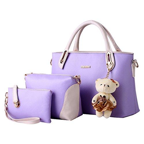 3 Handbag Pezzi Design Da Donna Shoulder Viola Elegante Bag Tote Missfox Cerniera S5RLc3q4Aj