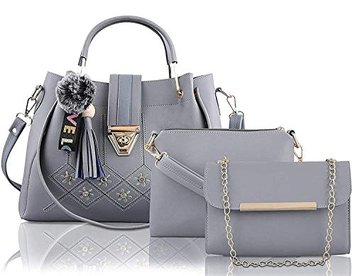 Fargo PU Leather Latest Handbags For Women's Ladies Combo Of 3 (GREY_EMBDRY_FGO-256)