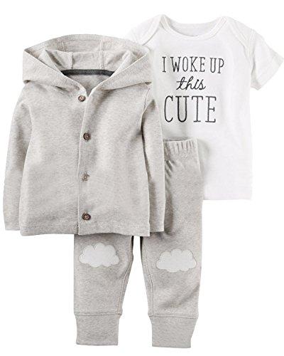 utfit Cotton 3-Piece Hoodie Jacket +Print Bodysuit+Pants Clothes Set Grey Hoodie 24M ()