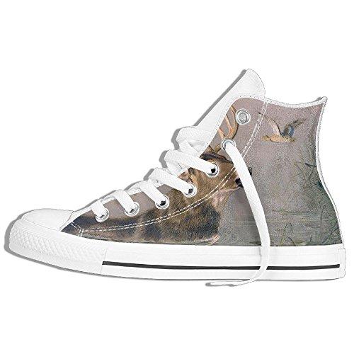 Classiche Sneakers Alte Scarpe Di Tela Anti-skid Cervo Cervo Casual Da Passeggio Per Uomo Donna Bianco