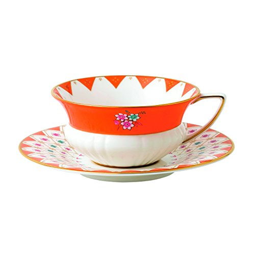 Wedgwood 40024019 Wonderlust Teacup and Saucer, 2 piece set, Peony Diamond (Saucer Tea Peony)