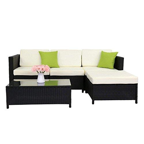 Kinbor 5-Pieces Outdoor Patio Rattan Wicker Sectional Sofa Set with Ottoman (Cream White)