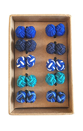 Silk Mens Cufflinks - Rammentare Silk Knot Cufflinks - Gift Set 5 Pairs - Mixed Blue