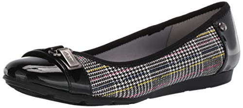 Anne Klein Women's Able Ballet Flat, Black White Multi, 9 M US