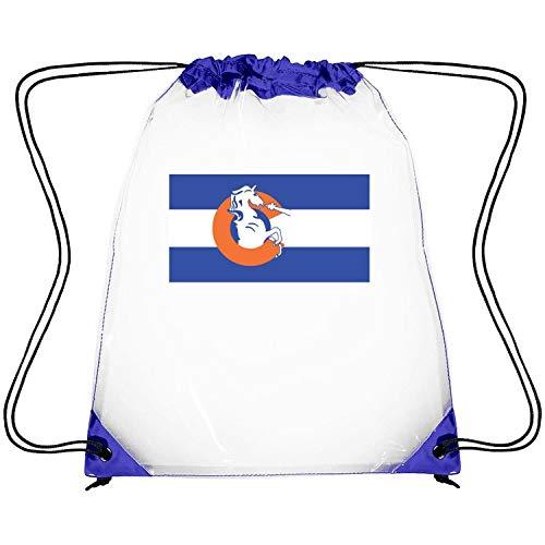 Price comparison product image Zhdashaiff Drawstring Clear Bags Denver Broncos Colorado Flag Printing PVC Adjustable Strap Concert Clear Plastic Bags