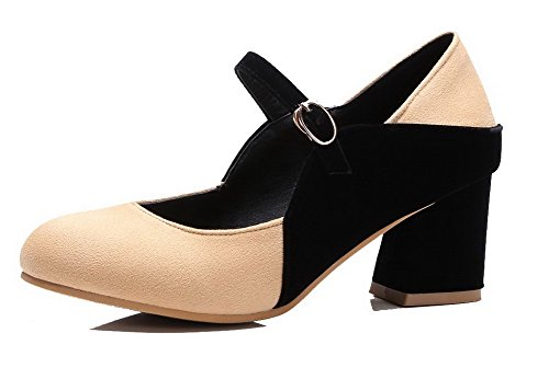 Odomolor Women's Frosted Kitten-Heels Buckle Assorted Color Pumps-Shoes, Apricot, 35