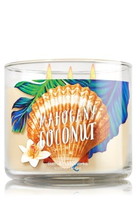Bath and Body Works Scented Candle 3 Wick Mahogany Coconut 14.5 - 3 Wicks Candles Coconut