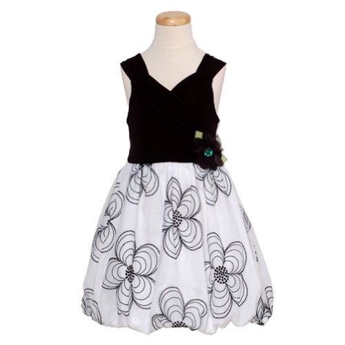 Bonnie Jean Big Girls' Dress Bodice Sheer Skirt With Embroidered Flowers