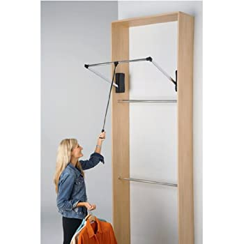 pull down closet rod large pull closet rod home amp kitchen 10681