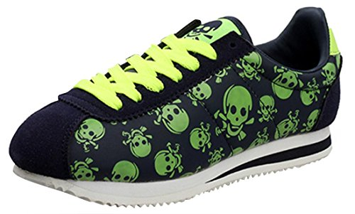 CAIHEE Women's Fashionable Sports Shoes Confortable Leather Running Shoes Lace -up (7.5B(M)US, Green)