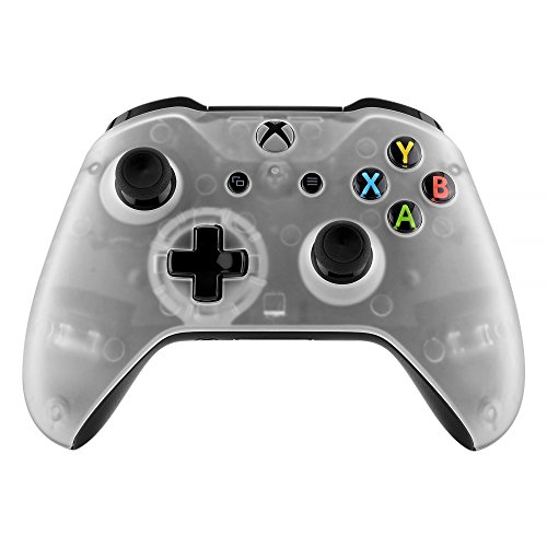 eXtremeRate Foggy Clear Faceplate Cover, Soft Touch Front Housing Shell Case, Comfortable Soft Grip Replacement Kit for Xbox One S & Xbox One X Controller