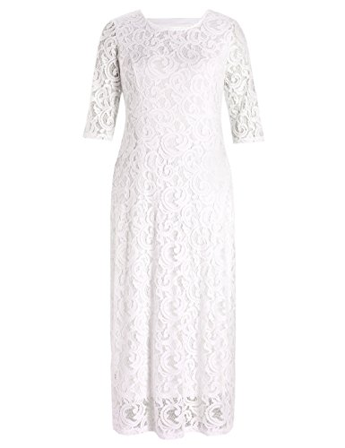 Chicwe Women's Stretch Plus Size Lace Evening Maxi Dress White Ivory 2X (Stretch Gown Lace Long)