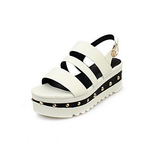 AmoonyFashion Womens Buckle Open Toe Kitten Heels Cow Leather Solid Sandals White Z33XY2Y