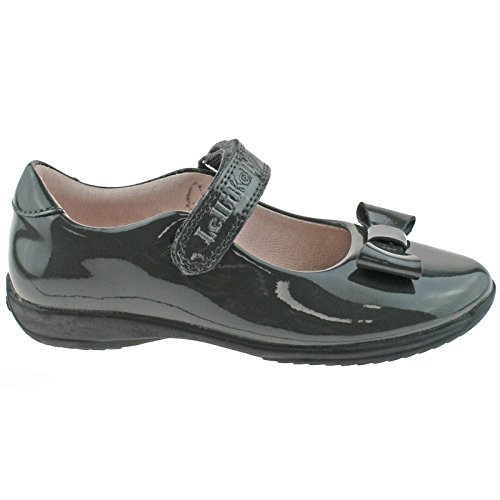 Lelli Kelly LK8206 (DR01) Perrie Grey Patent School Shoes F Fitting-UK 1 (EU 33)