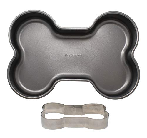 PreOkupied Dog Bone Cake Pan, Including Dog Bone Cookie Cutter, Dark Grey Carbon Steel, 30.5 x 21.6 x 5.1 cm for $<!--$16.99-->