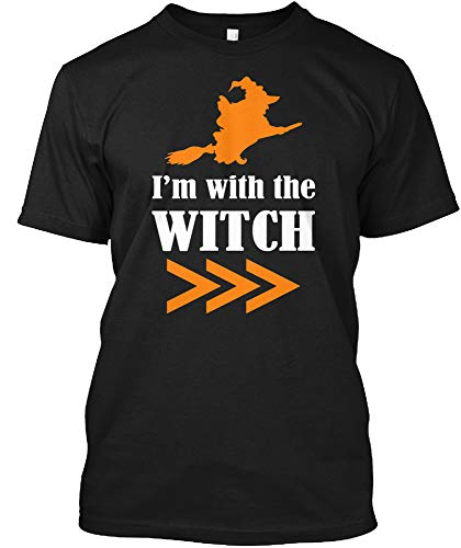 Halloween Couples Costume Shirt I'm with The Witch Tee for Men Women (Hanes Tagless Tee;Black;2XL) for $<!--$19.99-->