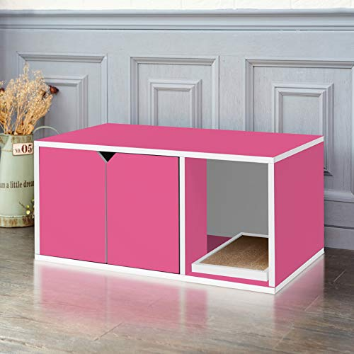 Way Basics Cat Litter Box Enclosed Modern Cat Furniture, Pink