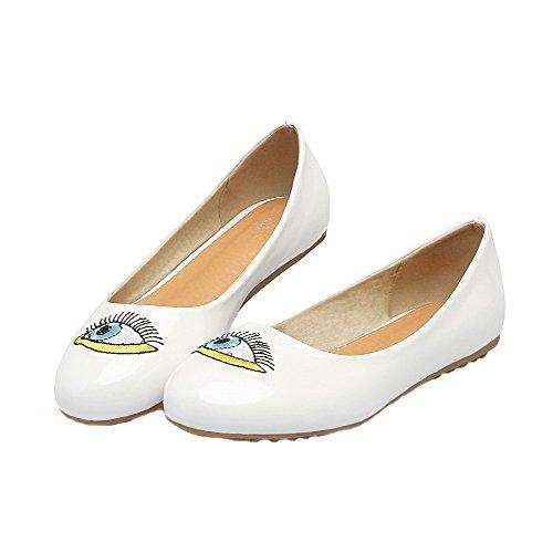 Amoonyfashion Patrón De Dibujos Animados Para Mujer Pu Zapatos De Tacón Bajo Con Punta Redonda Y Zapatos De Tacón Blancos