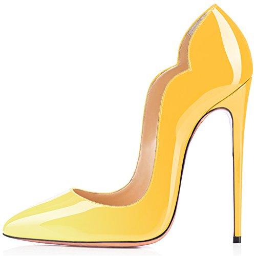 da uBeauty Giallo Scarpe Scarpe col Tacco Tacco Classiche Donna col Multicolore Scarpe Aw4qxw