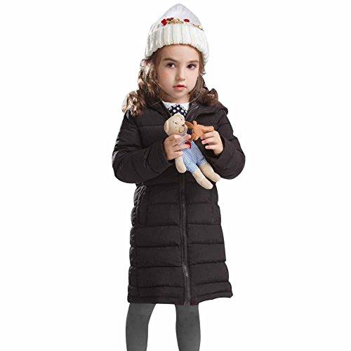 Hooded Coats Long Lightweight Windbreaker Winter Parka Coat Black 3-12T (Girls Long Winter Coat)