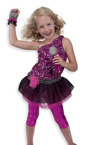 (Melissa & Doug Rock Star Role Play Costume Set (4 pcs) - Includes Zebra-Print Dress, Microphone)