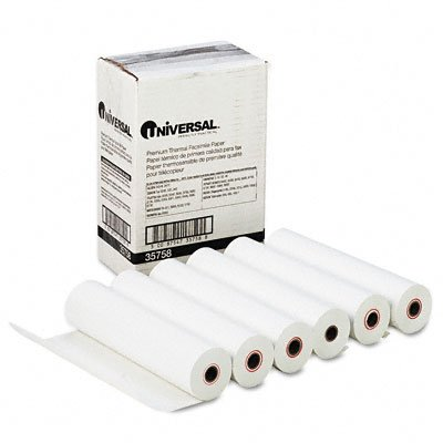 "Universal : Economical Ultra-Sensitive Thermal Fax Paper, 8-1/2"" x 98 ft, 6 Rolls per Carton -:- Sold as 2 Packs of - 6 - / - Total of 12 Each"