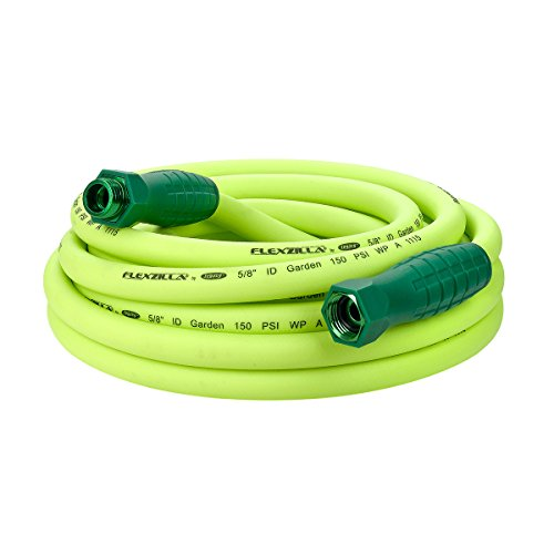 Flexzilla Garden Hose with SwivelGrip, 5/8 in. x 25 ft., Heavy Duty, Lightweight, Drinking Water Safe – HFZG525YWS