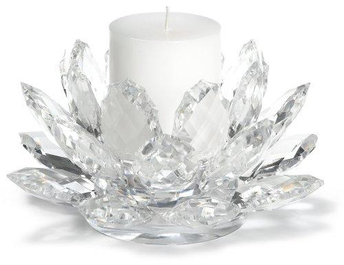 Godinger Lotus Pillar Holder w/ Candle (Leaf Pillar Holder)