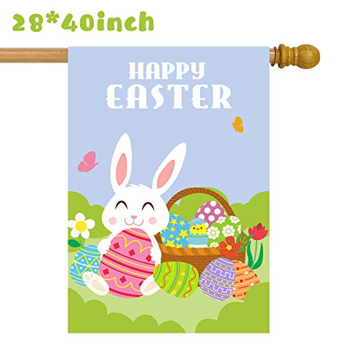 Grobro7 Large Happy Easter Garden Flag Double Sided Bunny House Flag Cute Egg Decorative Yard Flag Festival Celebrate Rabbit Polyester Decorative Flag for Outdoor Party(40 x28 Inch) -