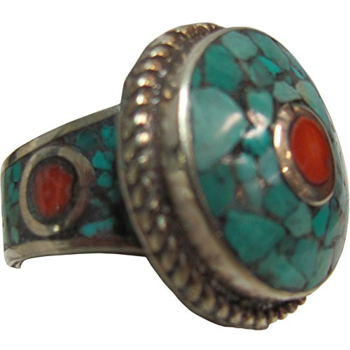 Padma Craft Indian Vintage Tibetan Coral with Turquoise Inlay Silver-Tone White Metal Round Ring (12.25)