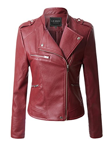 LE3NO Womens Quilted Moto Biker Faux Leather Jacket With Zipper Pockets (Red Jacket Leather Women)