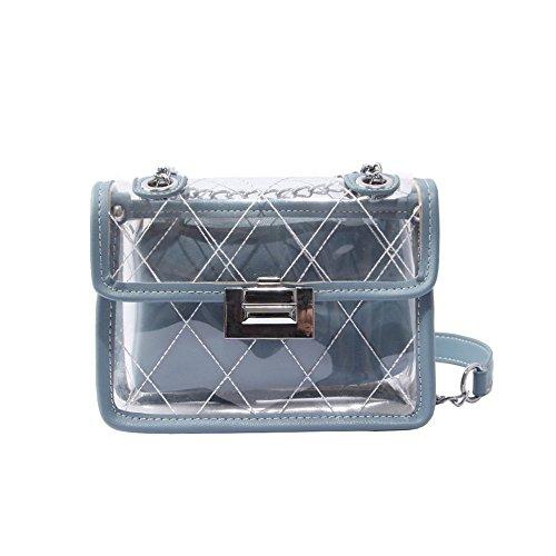 Bleu Besace D'Un Style Wild De Mode Jelly Transparent GWQGZ Sac Vent Petit Diamants Blue Chaîne Parfumé Oblique Baudrier aFHWw