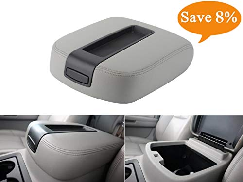 VeLeather Center Console lid Arm Rest Cover Replacement for 2007-2014 Chevy Chevrolet Silverado,Tahoe,Suburban,Avalanche,GMC Sierra,Yukon,Yukon XL Armrest Center Console Cover Lid Kit 15217111(Gray)