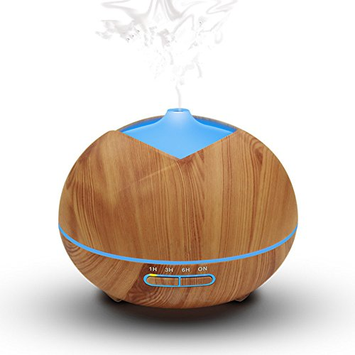 OULYLAN Aromatherapy Pure Essential Body Oil Diffuser Air Vaporizer 300ml Wood Grain Aroma Mist Personal Humidifier for Bedroom Home Office,Waterless Auto Shut-Off 7 Color LED Lights