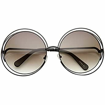 zeroUV - Women's Oversized Full Metal Wire Frame Glamour Round Sunglasses (Black Lavender)