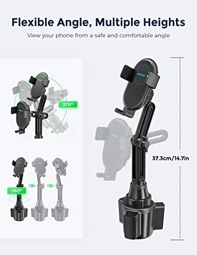 Mpow Car Wireless Charger, 15W Auto-Clamping Qi Fast Charding Car Mount, Cup Holder Air Vent Phone Holder for iPhone 12 Pro Max/12Pro, Galaxy S20/S20+,LG G8 ThinQ/V50 and More